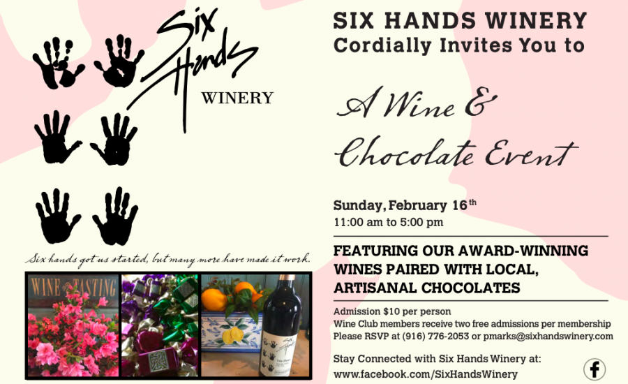 Six Hands Winery Valentine 2020 Chocolate and Wine Event February 2020